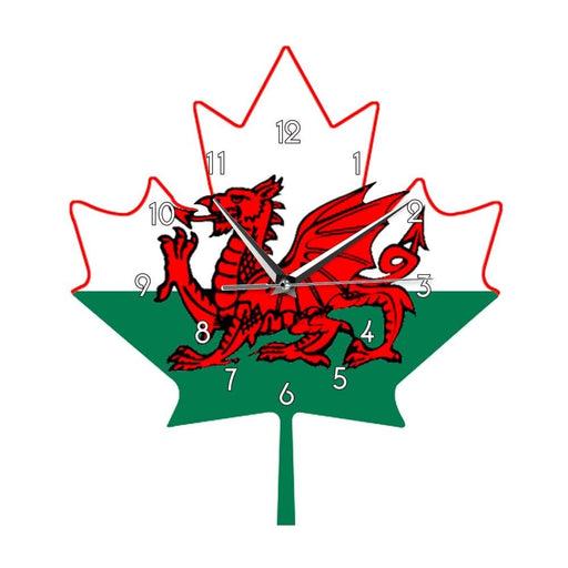 Flag of Wales Wall Clock Welsh Red Dragon On White Green Maple Leaf Y Ddraig Goch UK United Kingdom Great Britain Clock Watch