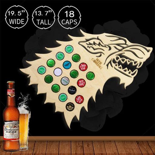 Beer Is Coming Dire Wolf Wooden Beer Cap Map Howling Wolf Head Hanging Beer Cap Trap Wine Cap Display Collector Wine Lovers Gift