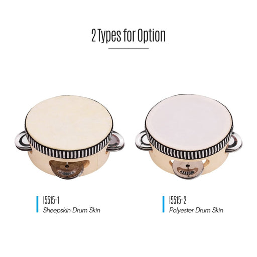 4 Inch Wooden Hand Tambourine with Metal Single Row Jingles Tambourines Entertainment Musical Timbrel for Singing Party