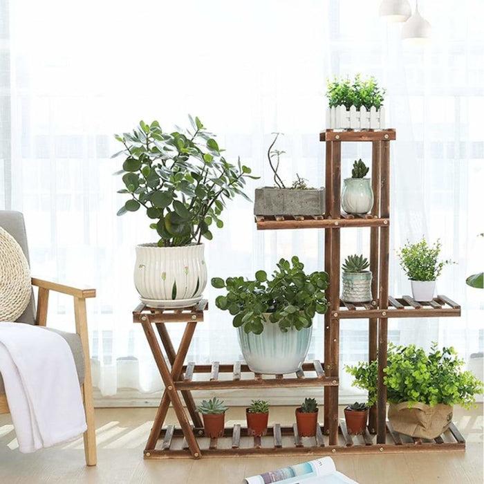 Wooden Plant Flower Pot Stand Shelf  Indoor Outdoor Garden Planter With Wheels