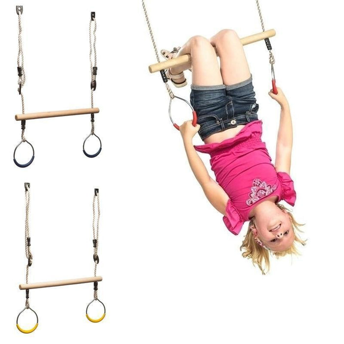 Wooden Trapeze bar & Steel rings   Random Colour goslash fast delivery fast delivery