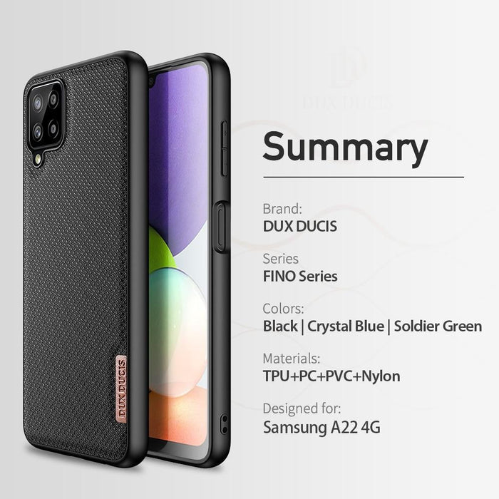 Woven Nylon Texture Silicone Back Cover for Samsung A22 4G