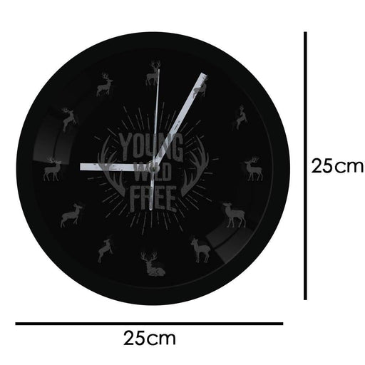 Young Wild Free Inspirational Quote Deer Antlers Wall Clock With LED Backlight Tribal Nursery Modern Hunting Decor Color Changes