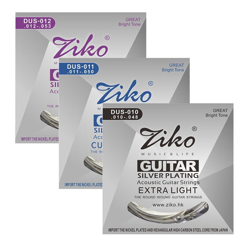 Ziko 6Pcs/Set Acoustic Guitar Strings Silver Plating 6 Acoustic Guitar Strings Guitar Parts & Accessories (010 /011/ 012)