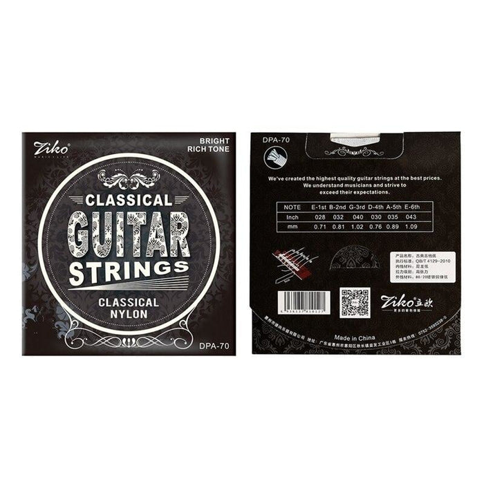 Ziko DPA-70 Classical Guitar Strings 6pcs/Set Nylon Core Silver Plated Copper Wound Classical Guitar Strings (.028-.043)