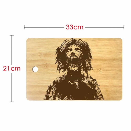 Horror Zombie Head Personalized Engraved Cutting Board Scary Undead Monster Butcher Block Halloween Kitchen Dining Room Decor (330x210mm)