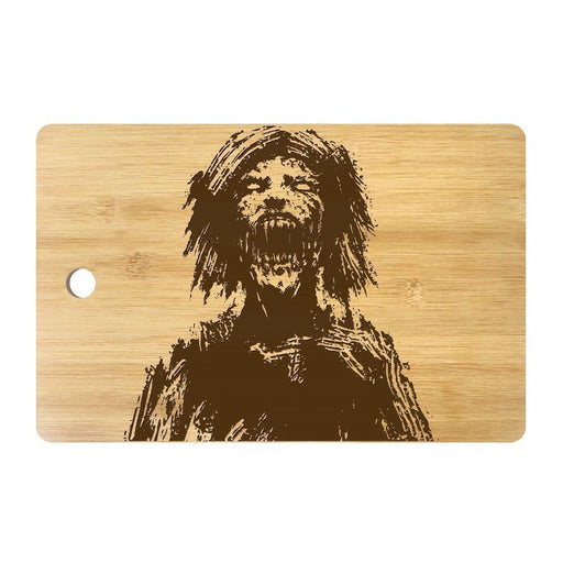 Horror Zombie Head Personalized Engraved Cutting Board Scary Undead Monster Butcher Block Halloween Kitchen Dining Room Decor
