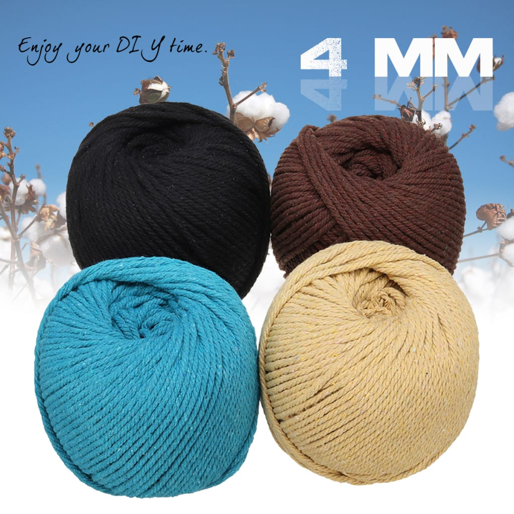 Natural Cotton Twisted Cord Rope Macrame Linen Jute Diy