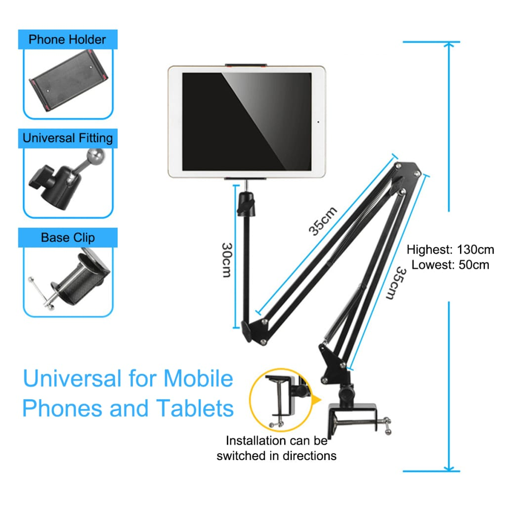 Aluminum Desktop Bed Table Gimbal Lazy Long Arm Phone Holder