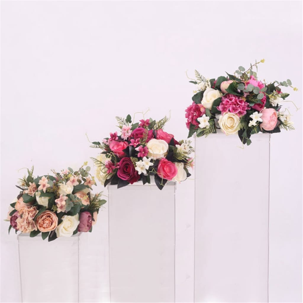 38cm Silk Rose Peony Artificial Flower T Station Stand