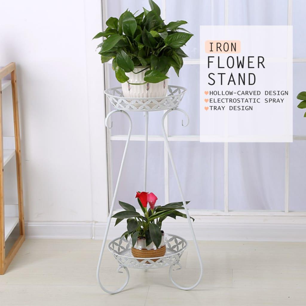 Plant Pot Stand Flower Storage Rack Metal Floor Standing