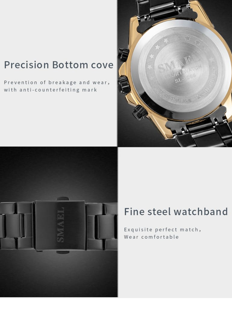 Stainless Steel Mens''s Multi-functional Dial Wrist Watch -