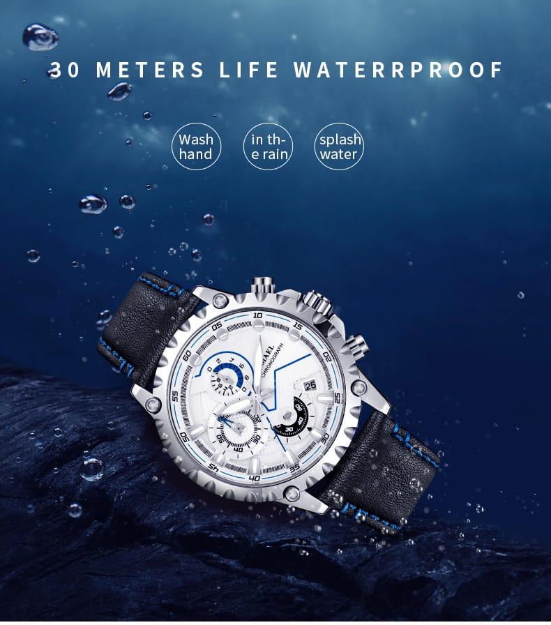 Men's 30m Waterproof Casual Wrist Watch - 5 Colours