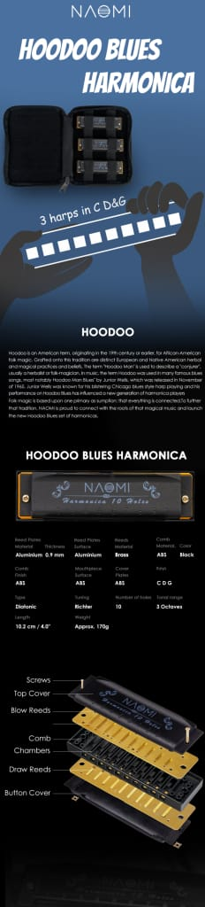 Naomi 3pcs Hoodoo Blues Harmonica C D G Tone Harmonica Set