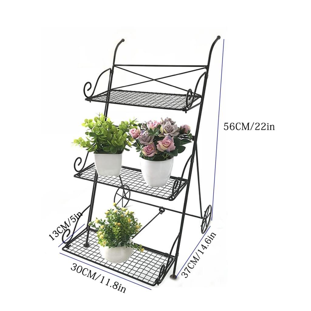 3 Tier Garden Cart Metal Shelf Stand Plant Flower Rack