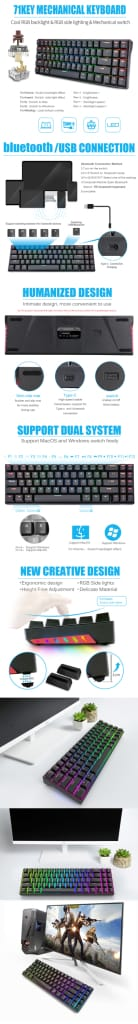 Mechanical Gaming Keyboard Dual Mode 71 Keys - 6 Options