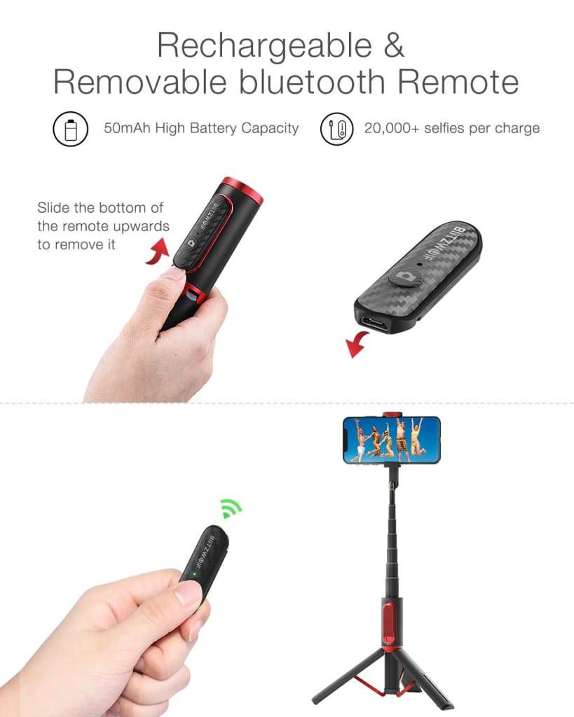 Blitzwolf® All in One Portable Bluetooth Selfie Stick - 4