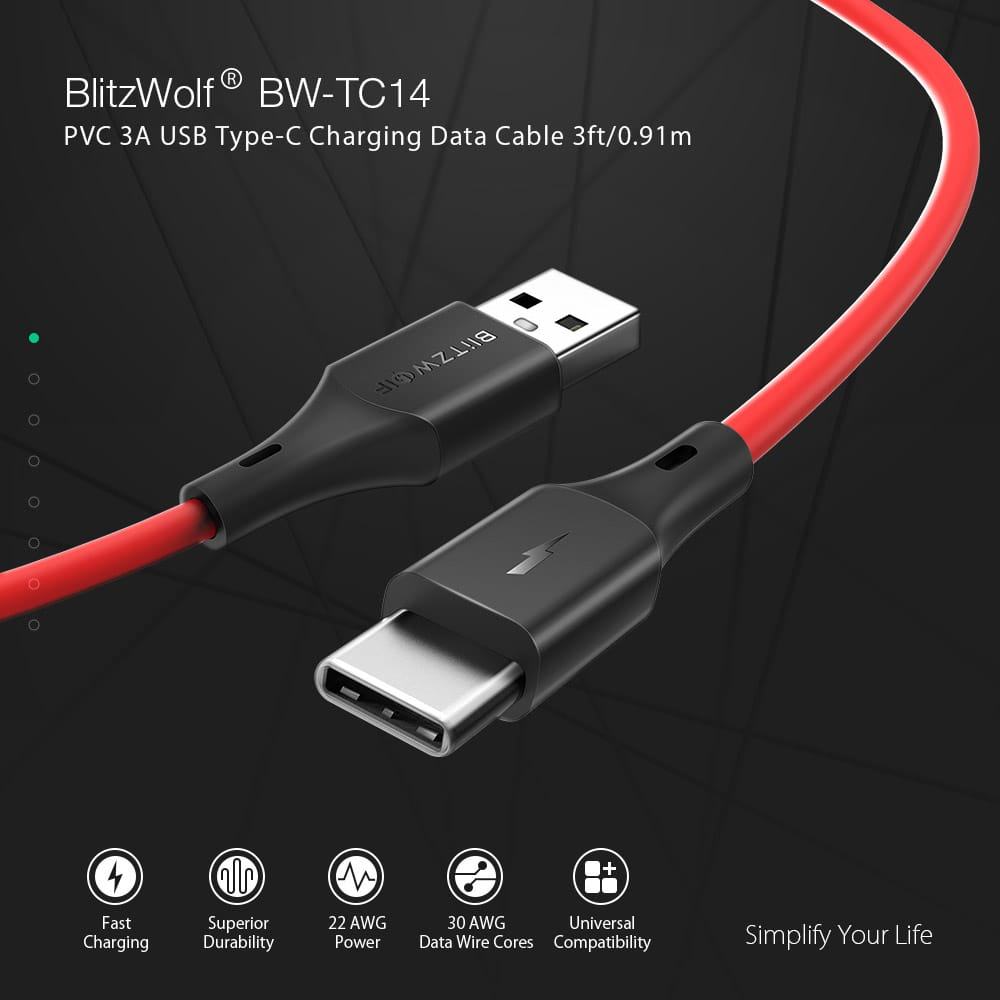 Blitzwolf® Usb Type-c Cable Charging Data Sync Transfer Cord
