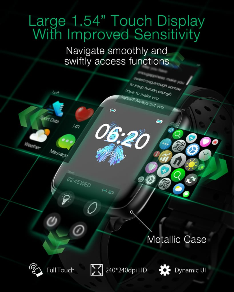 1.54 Inch Touchscreen Heart Rate Blood Pressure Oxygen | 3