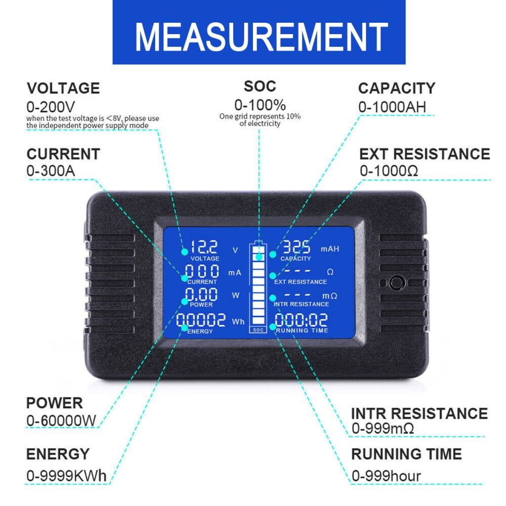Lcd Display Dc Battery Voltage Monitor Meter - 0-200v Volt