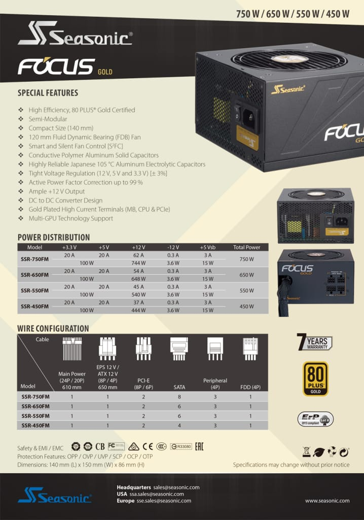 Seasonic 650w Focus Gold Psu (ssr-650fm) Gm-650