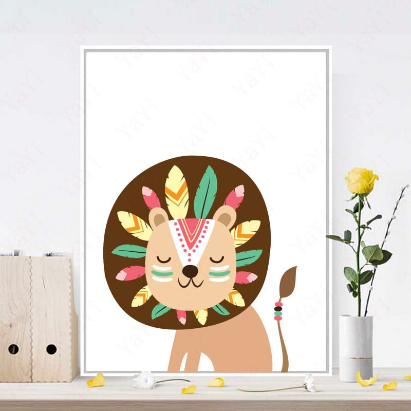 6 Styles Cartoon Animal Painting Wall Unframed Decoration