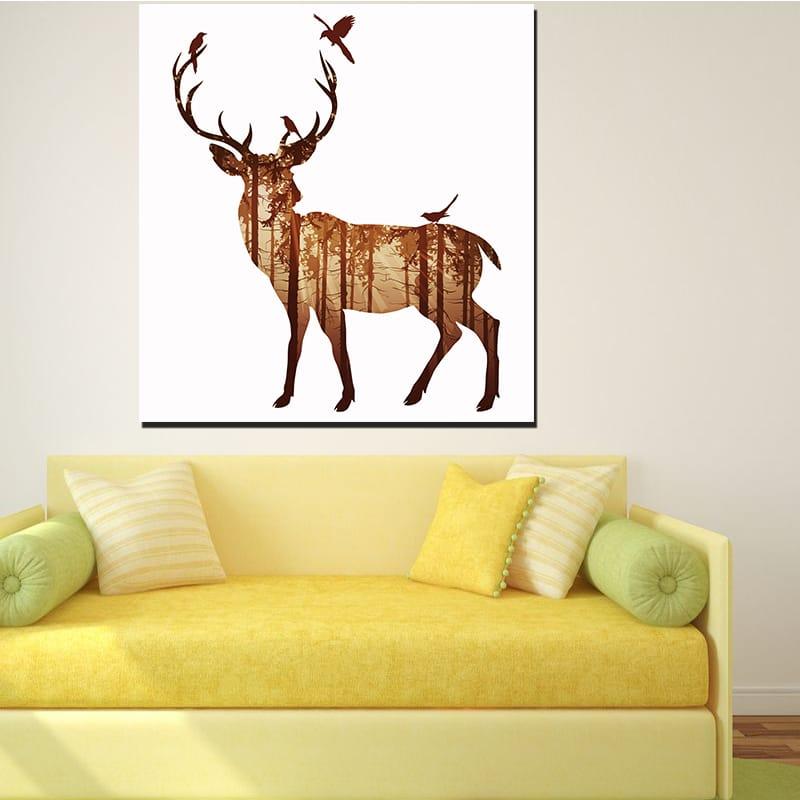 Miico Hand Painted Simple Style-b side Face Deer Oil