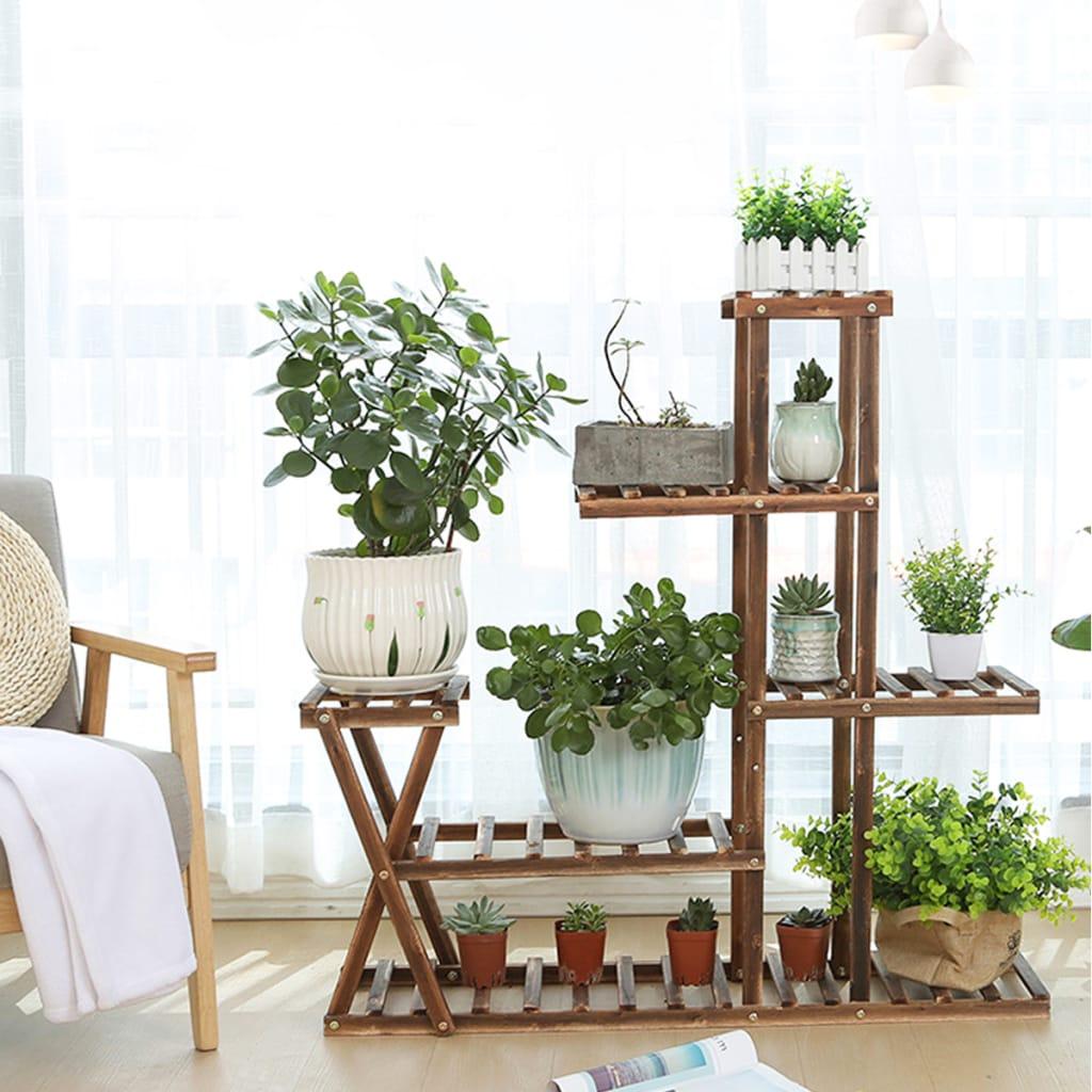 Wooden Plant Flower Pot Stand Shelf Indoor Outdoor Garden