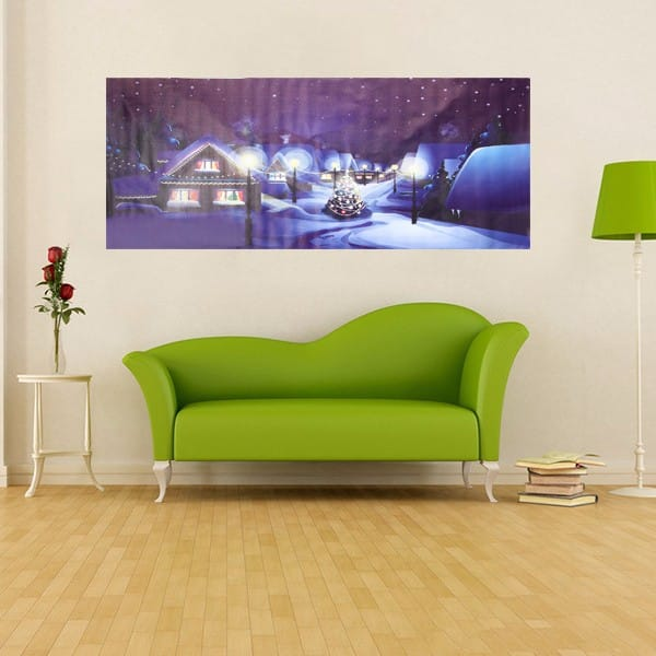 Village Christmas Night Frameless Painting Living Room