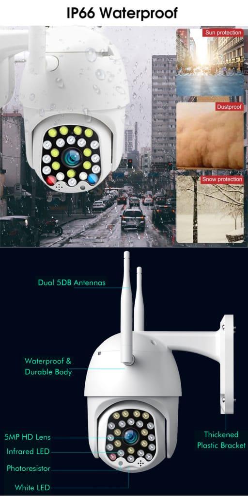 Wifi Ip Security Camera Outdoor Light & Sound Alarm Night