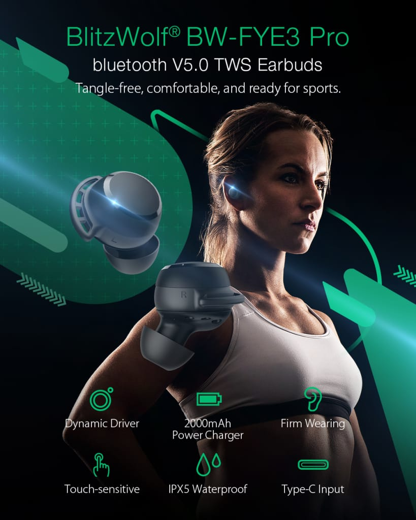 Bluetooth V5.0 Earphone Hifi Stereo Hd call Touch Control