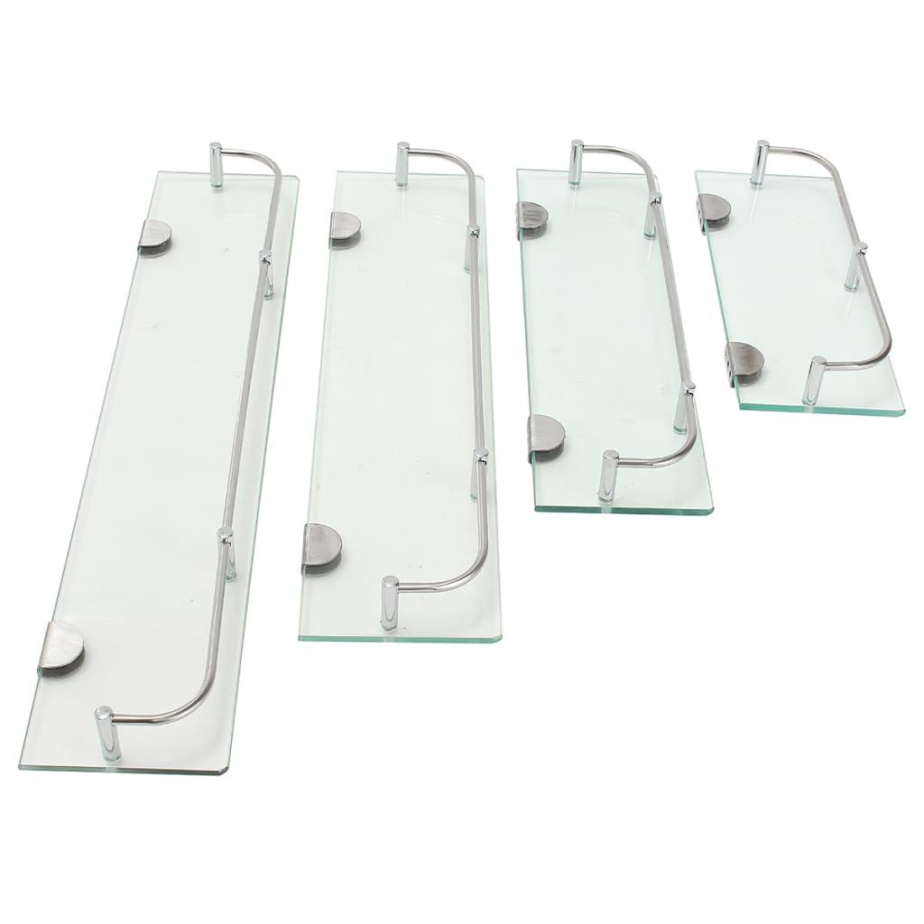 Wall Mount Glass Shelf Rectangular Rack Shelf with Rail - 4