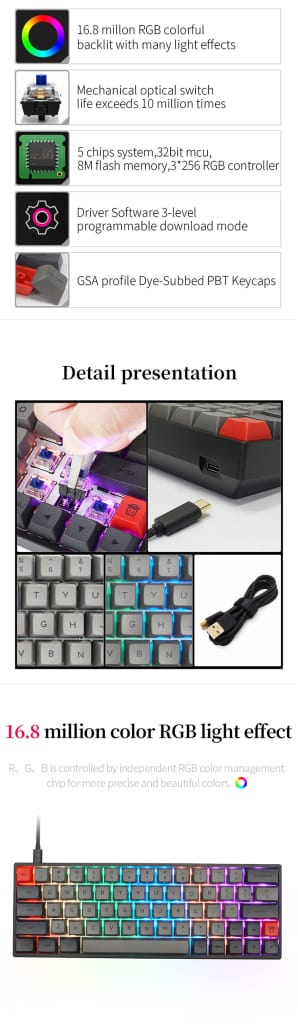 Mechanical Gaming Keyboard 64 Keys - 12 Options