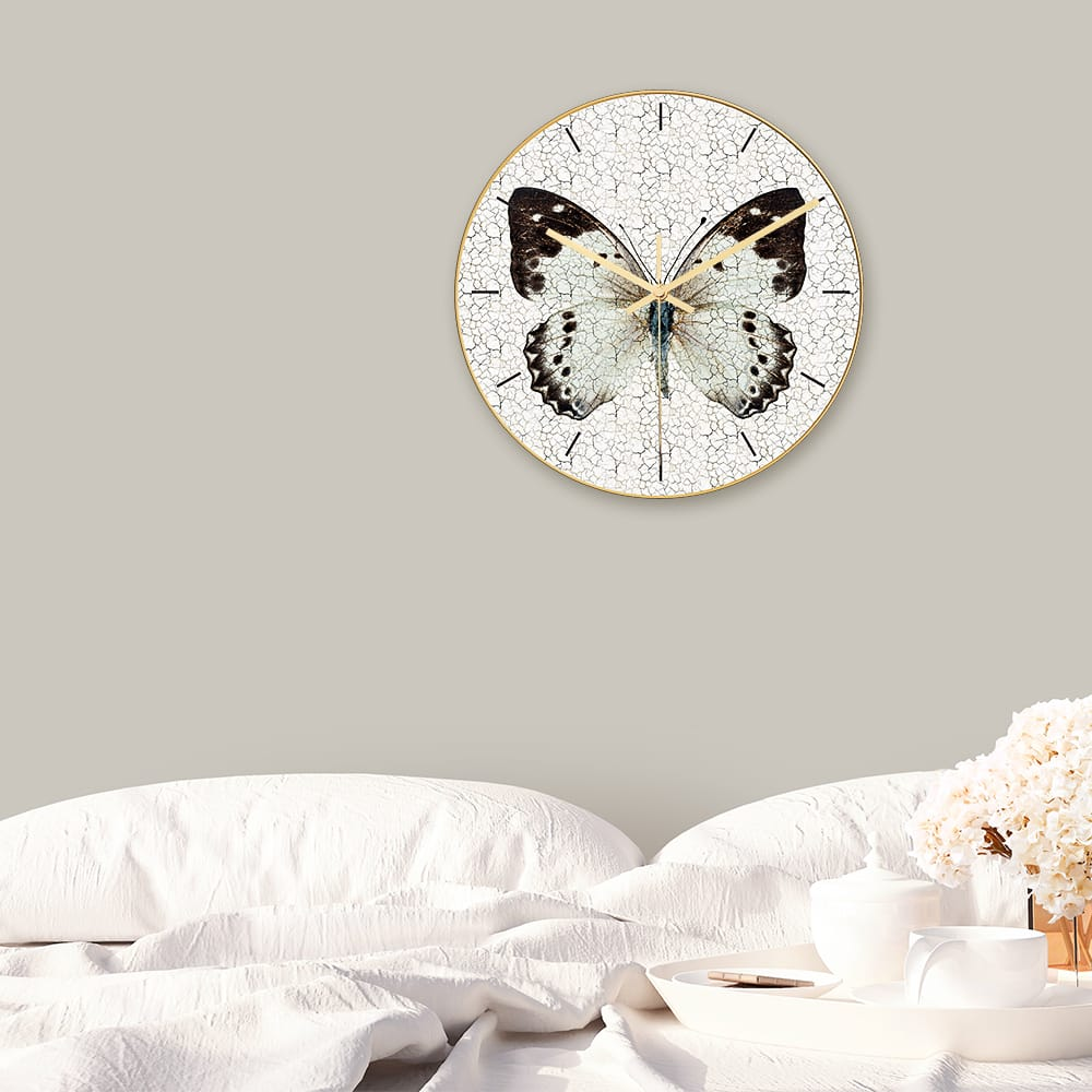 Loskii Cc012 Creative Butterfly Pattern Wall Clock Mute Wall