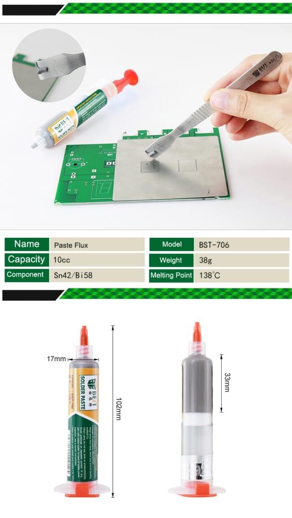 Best Bst-706 10cc 138℃ Syringe Diy Solder Soldering Paste