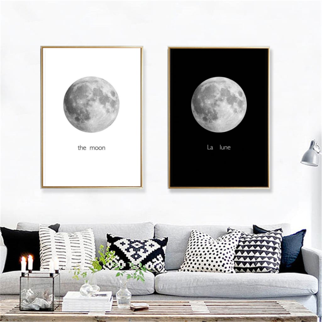 Abstract Black&white Moon Canvas Paintings Picture Unframed