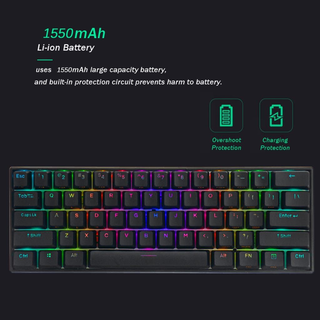 Mechanical Gaming Keyboard 61 Keys - 8 Options