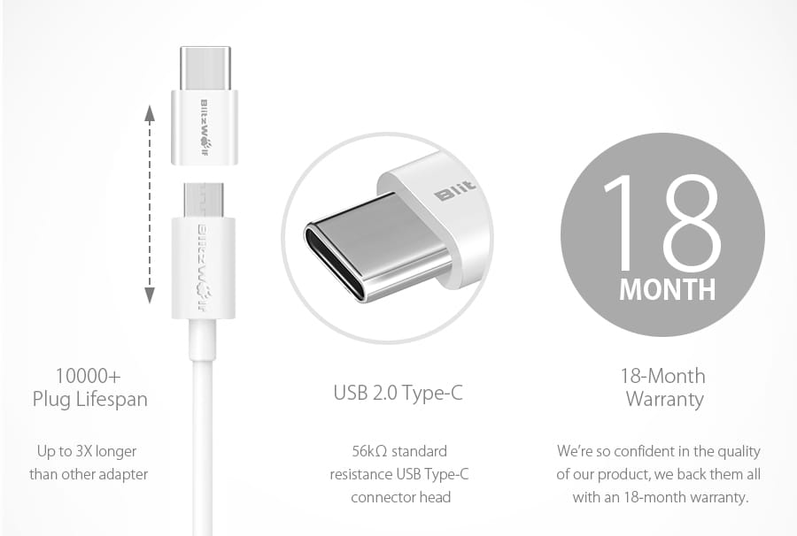 Blitzwolf® Usb Type-c to Micro Usb Connector Usb C Adapter -