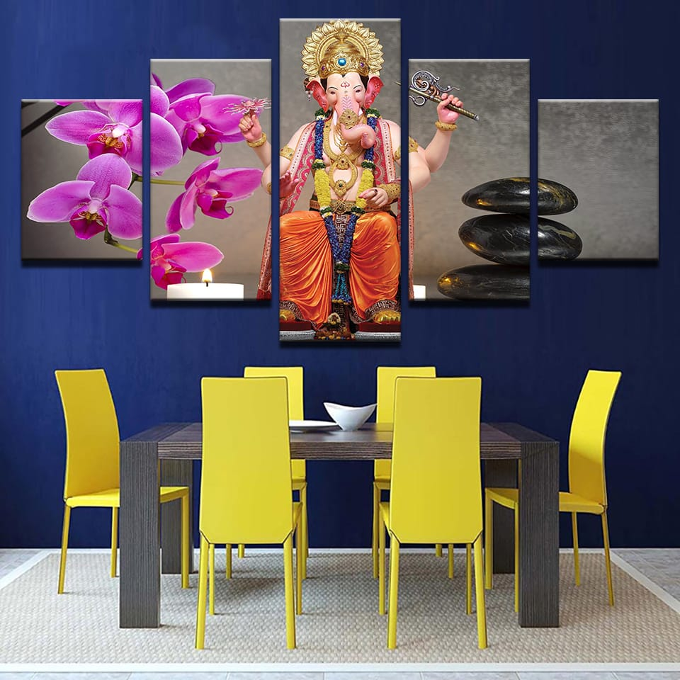 5 Panels Elephant Wall Painting Wine Art Modern Design