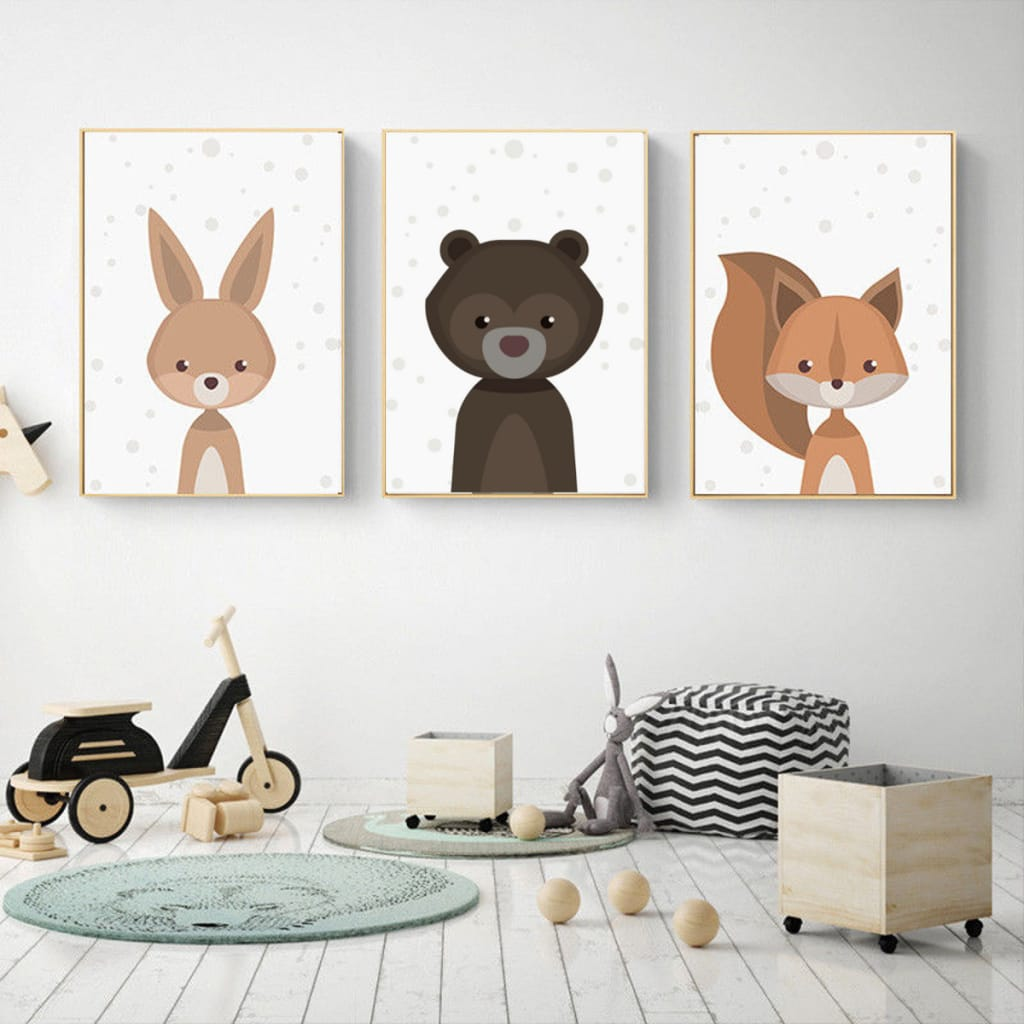 Cartoon Fox Animal Canvas Poster Nordic Art Prints Baby Kids