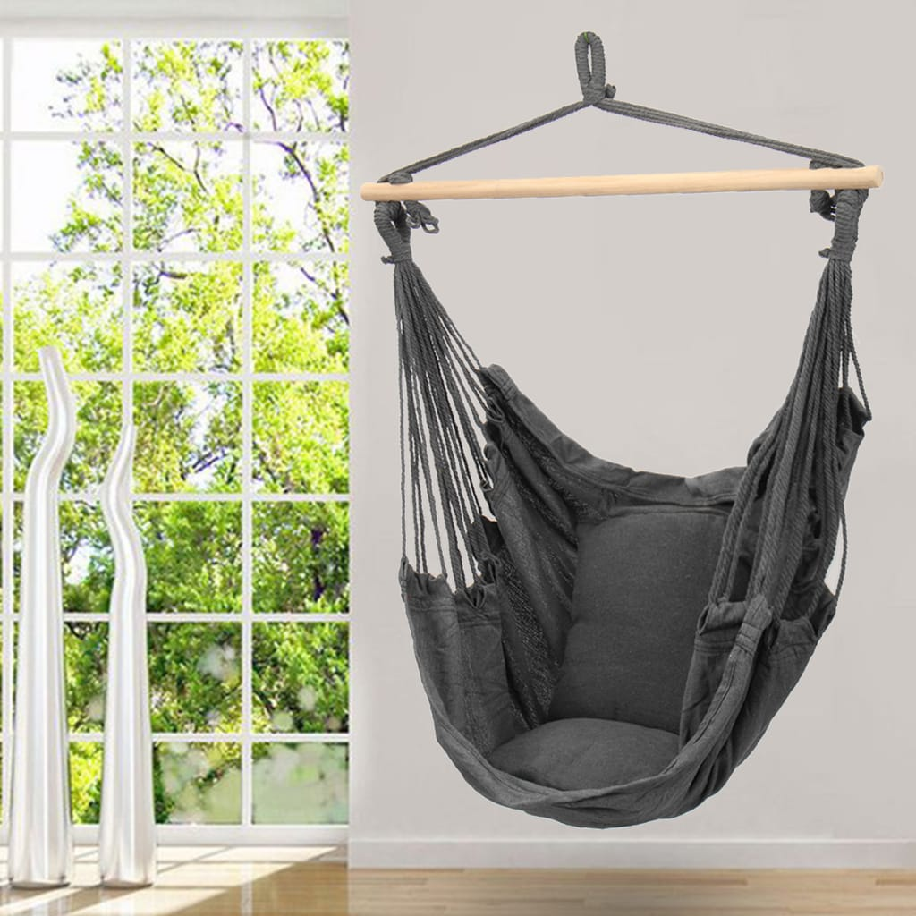 Deluxe Hanging Hammock Chair Swing Includes Soft Cushions -