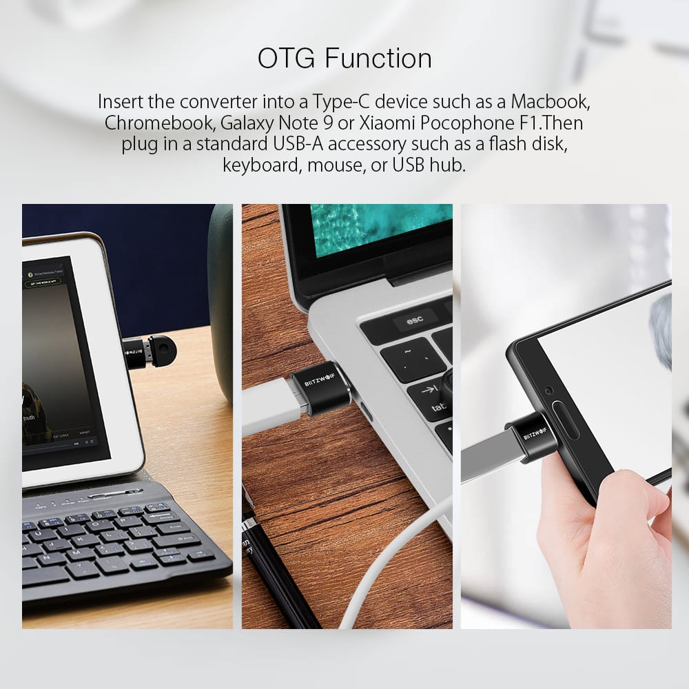 2 Pcs Mini Type C to Usb 2.0 Otg Adapter Converter