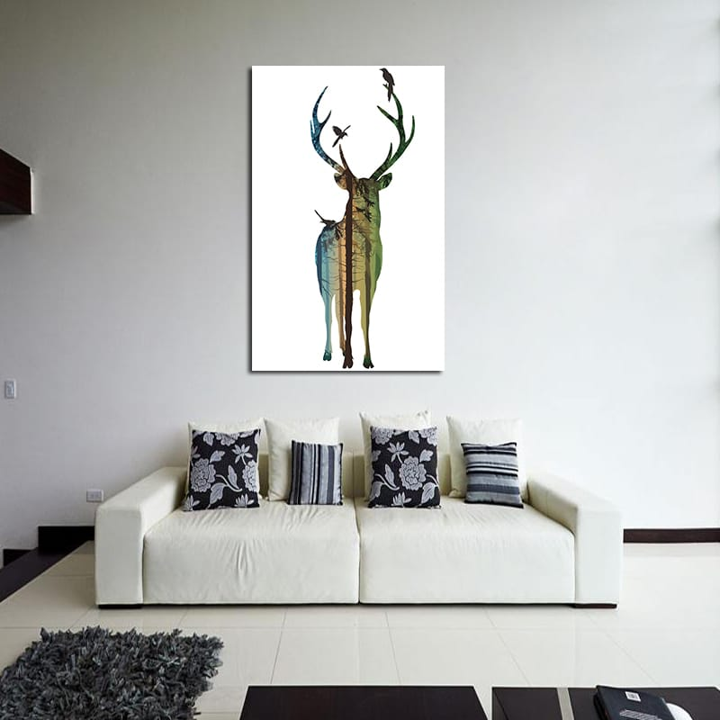 Miico Hand Painted Simple Male Deer Oil Paintings