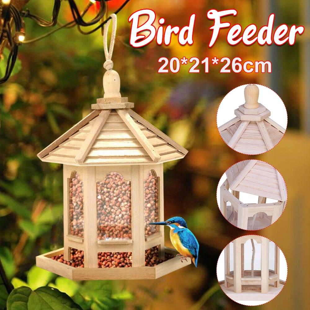 Wooden Bird House Feeder Frame Bird Cage Net for Feeding