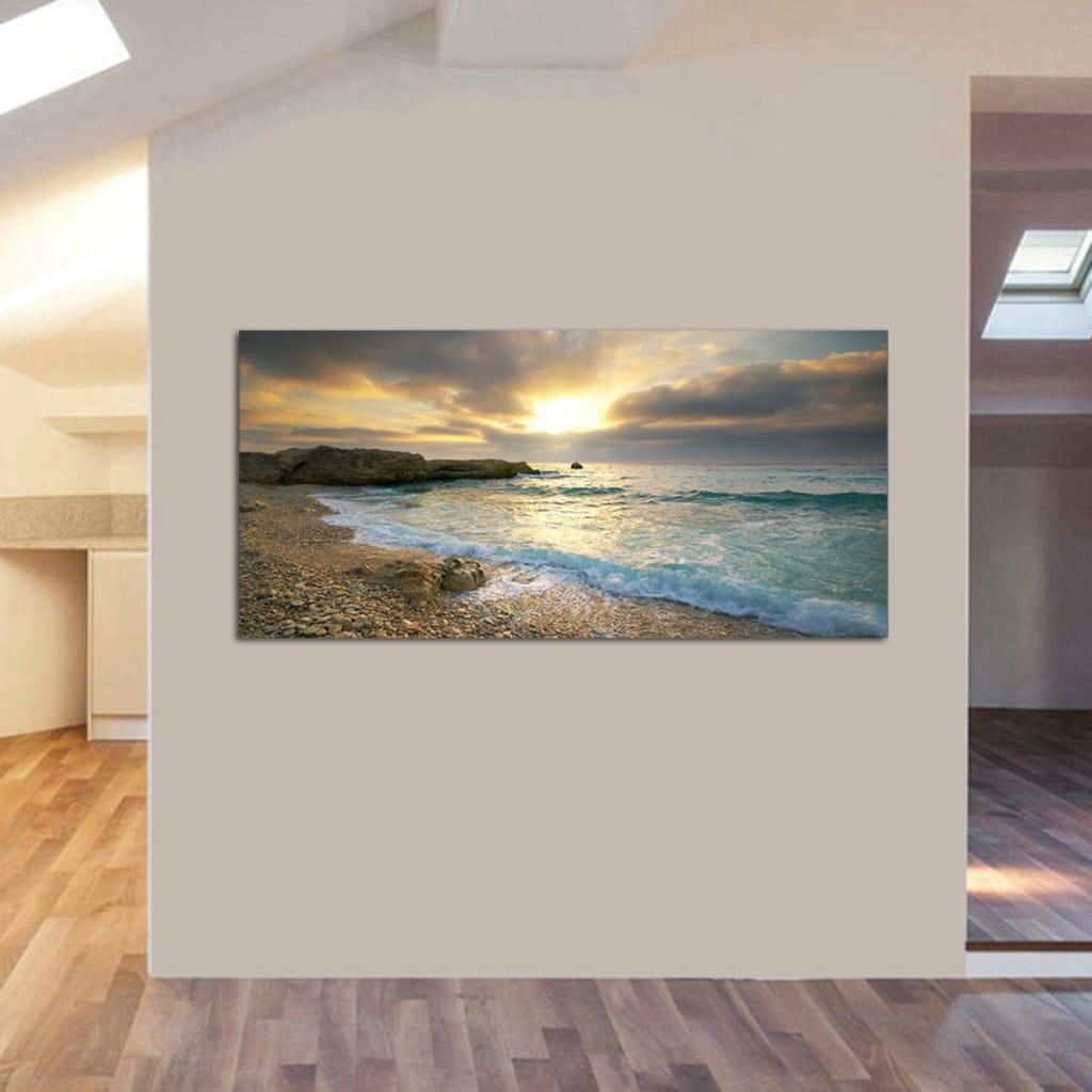 Beach Canvas Print Ocean Wave Sunset Sea no Frame Paintings