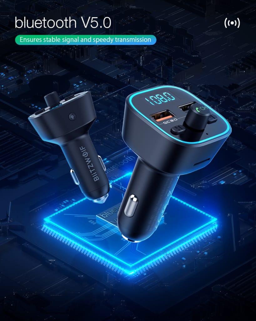 Car Bluetooth 5.0 Fm Transmitter 18w Qc 3.0 Usb Car Charger