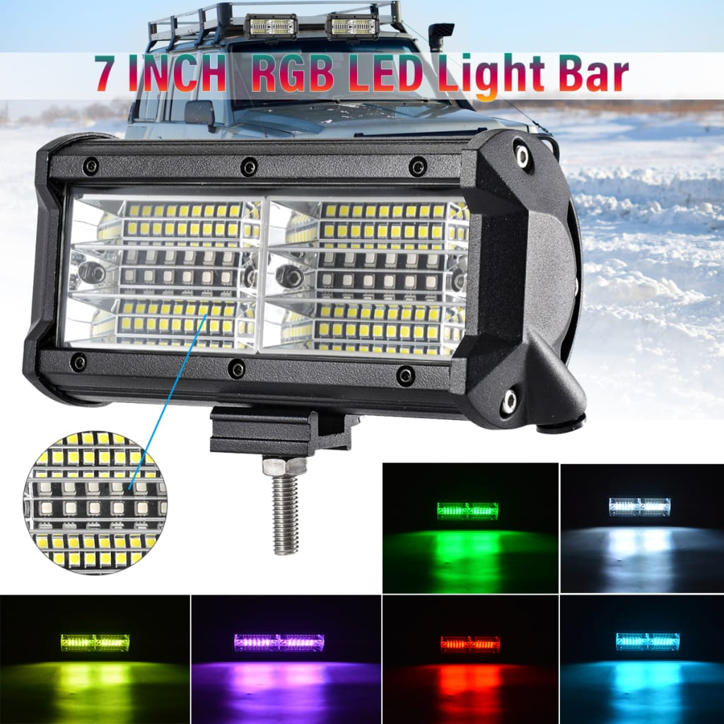 144w 7 Inch Rgb Led Work Light Bar Driving Fog Lamp 10-32v