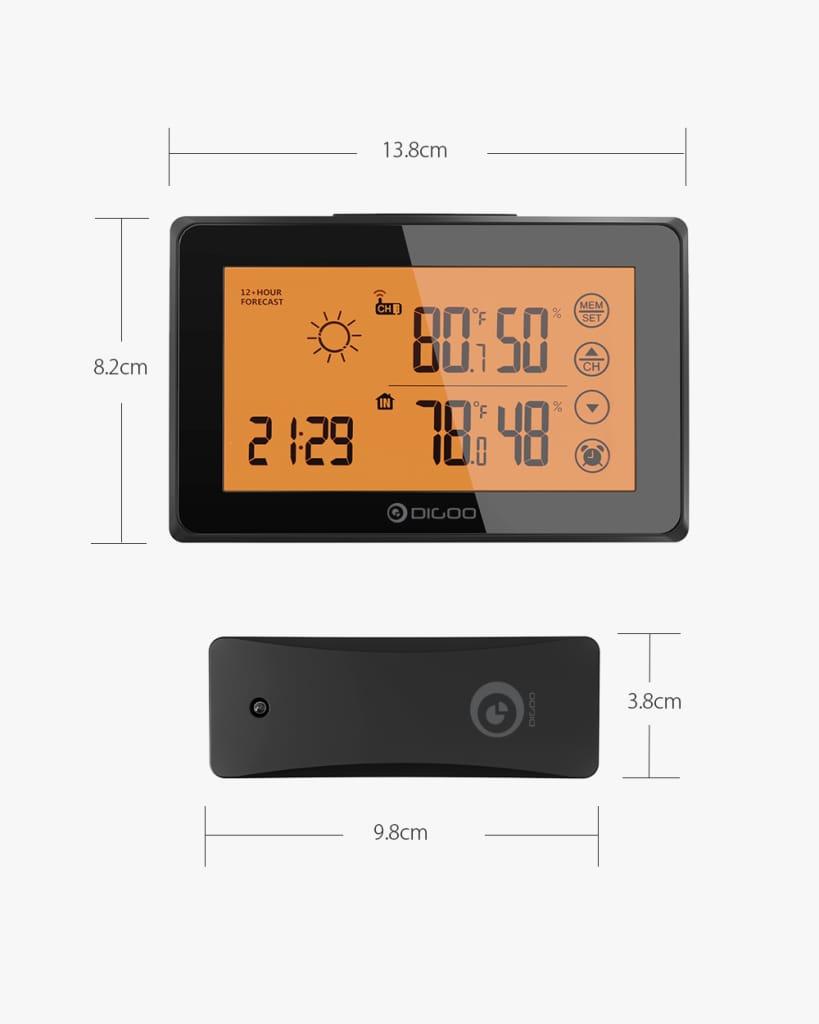 Orange Backligt Lcd Weather Station with Remote Sensor Alarm