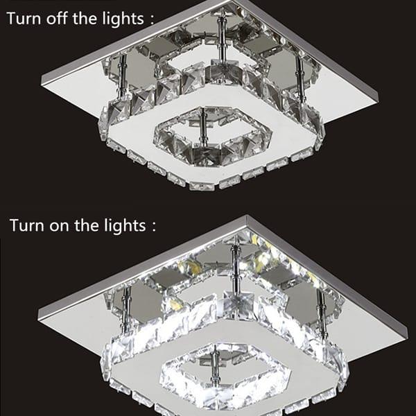 Modern Square Crystal Led Ceiling Light - 2 Colours