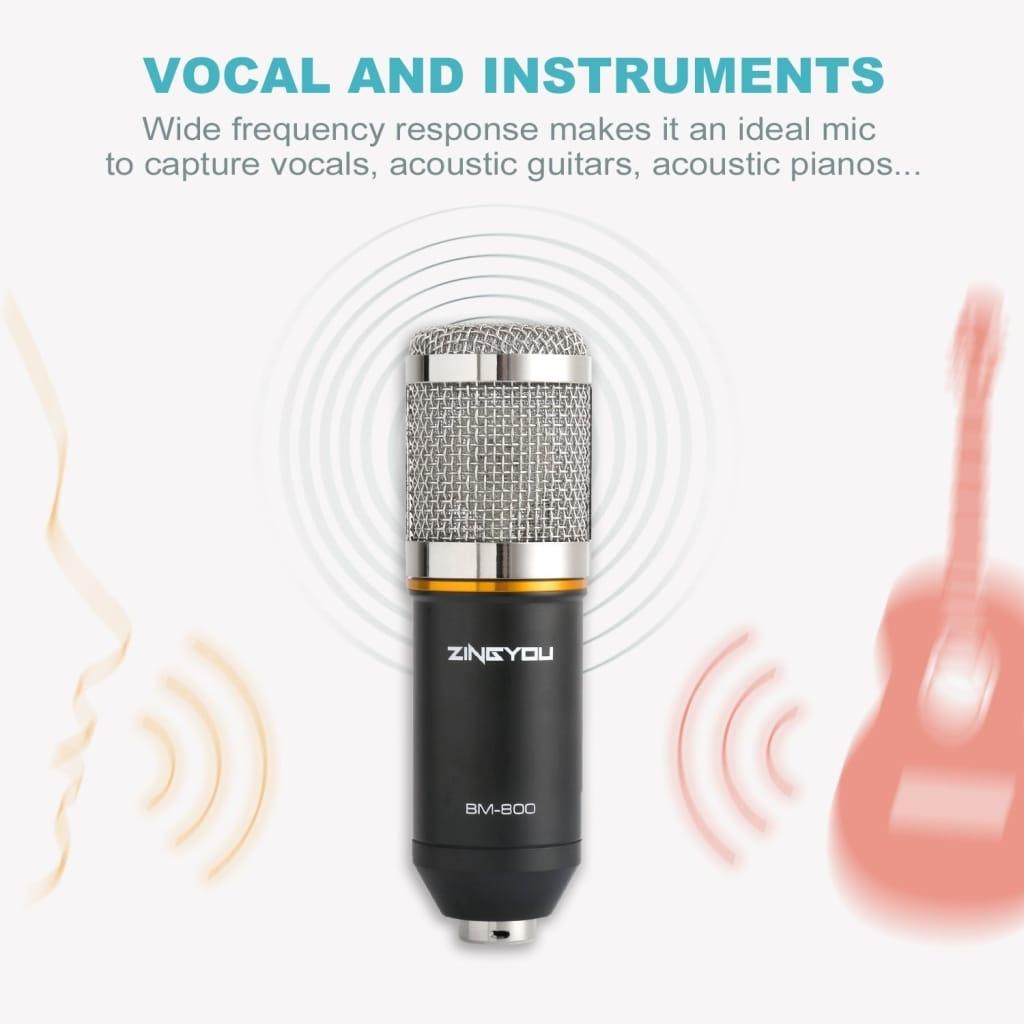 Bm800 Pro Condenser Microphone Kit Studio Suspension Boom